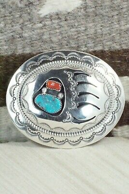Turquoise, Coral & Sterling Silver Belt Buckle - Wilbert Muskett Sr. - High Lonesome Trading