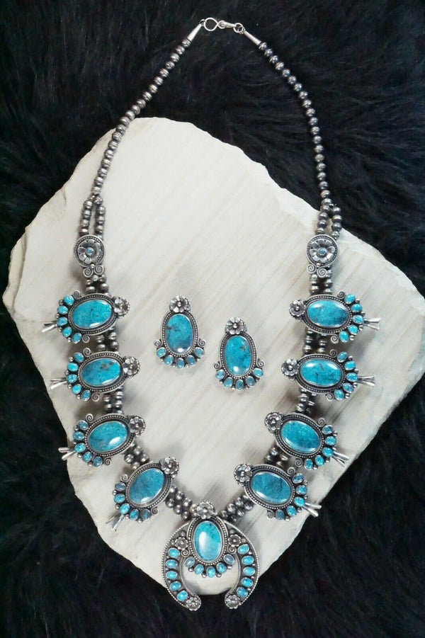 Turquoise & Sterling Silver Squash Blossom & Earrings - Myron Etsitty