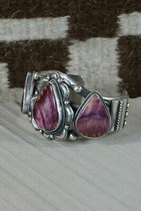 Navajo Spiny Oyster & Sterling Silver Bracelet - Tom Lewis - High Lonesome Trading
