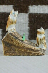 Owl and Fox Zuni Fetish Carving - Marvelita Phillips - High Lonesome Trading