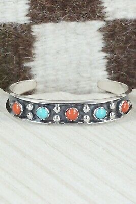 Turquoise, Coral & Sterling Silver Bracelet - Paul Largo