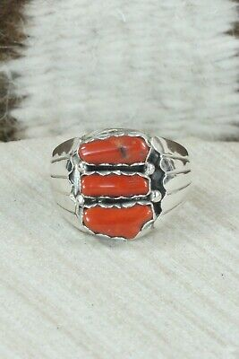 Coral & Sterling Silver Ring - Anthony Skeets - Size 10.75