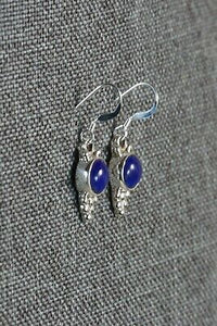 Lapis & Sterling Silver Earrings - Elaine Shirley - Navajo - High Lonesome Trading
