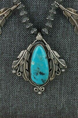 Navajo Turquoise & Sterling Silver Necklace - Tom Lewis - High Lonesome Trading