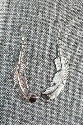 Navajo Sterling Silver Feather Earrings - Louise Joe