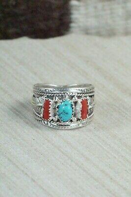 Turquoise, Coral and Sterling Silver Ring - Harrison & Betty Begay - 9.5