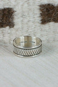 Navajo Sterling Silver Ring - Bruce Morgan - Size 10 - High Lonesome Trading