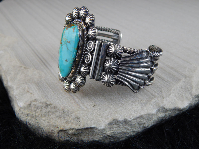 Navajo Turquoise & Sterling Silver Bracelet - Leon Martinez - High Lonesome Trading