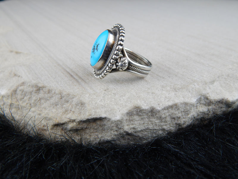 Navajo Turquoise & Sterling Silver Ring - Gloria Begay - High Lonesome Trading