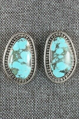 Turquoise & Sterling Silver Earrings - Raymond Delgarito - High Lonesome Trading