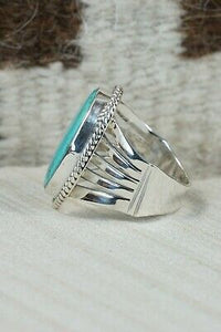 Navajo Turquoise & Sterling Silver Ring - Jeanette Saunders - Size 11.75