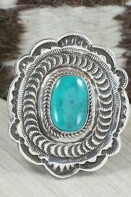 Turquoise and Sterling Silver Ring - Leonard Maloney - Size 10