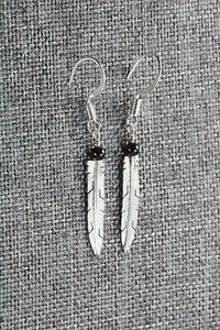 Onyx & Sterling Silver Feather Earrings - Marvin Arviso