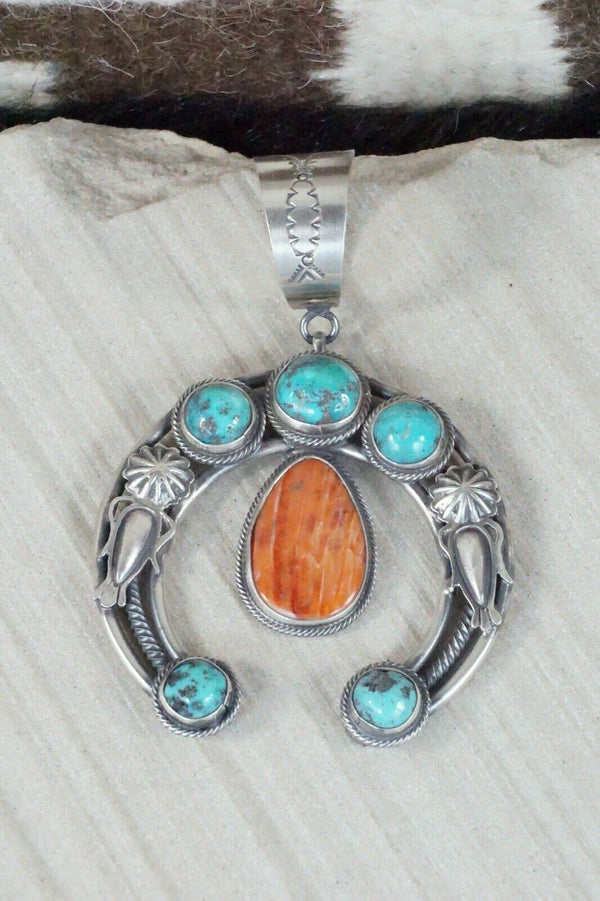 Turquoise, Spiny Oyster & Sterling Silver Naja Pendant Raymond Delgarito
