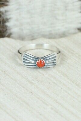 Coral & Sterling Silver Ring - Lee Shorty - Size 9