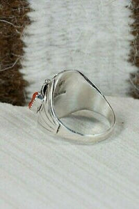 Navajo Turquoise, Coral & Sterling Silver Ring - Grace Smith - Size 12