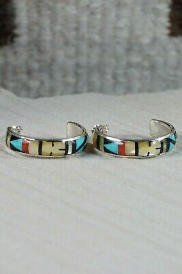 Zuni Multi Stone Inlay & Sterling Silver Hoop Earrings - Delberta Boone - High Lonesome Trading