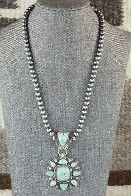 Turquoise and Sterling Silver Pendant & Necklace - Tom Lewis