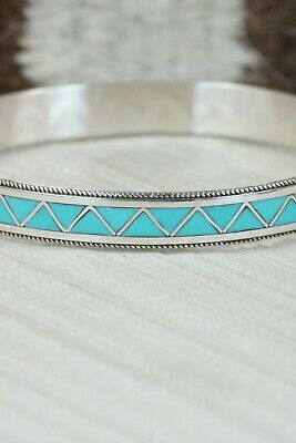 Zuni Turquoise & Sterling Silver Bangle Cuff - Claudine Haloo