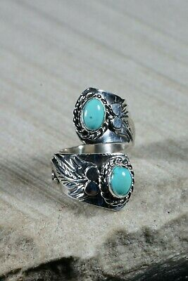 Navajo Turquoise and Sterling Silver Ring - Thomas Yazzie - Size 4.5 - High Lonesome Trading