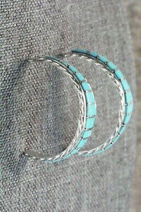 Turquoise & Sterling Silver Hoop Earrings - Malcom Chavez - High Lonesome Trading