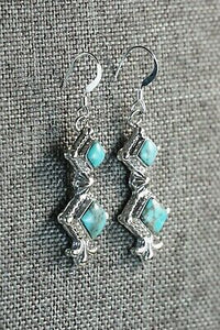 Navajo Turquoise and Sterling Silver Earrings - Sadie Jim