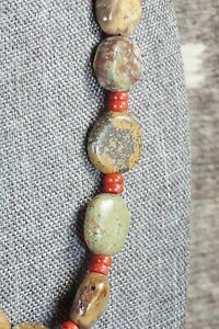 Turquoise, Coral & Sterling Silver Necklace - Navajo