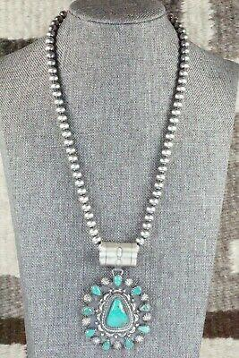 Turquoise and Sterling Silver Pendant & Necklace - Tom Lewis - High Lonesome Trading