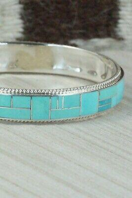 Turquoise & Sterling Silver Bangle Bracelet - Ricky Booqua