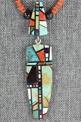 Coral, Turquoise & Sterling Silver Necklace - Chris Nieto