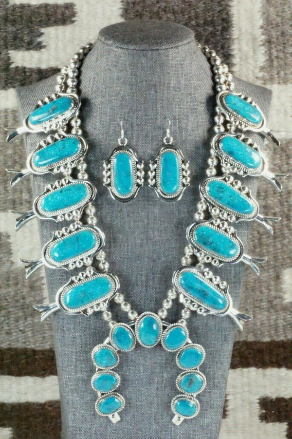 Turquoise & Sterling Silver Squash Blossom & Earrings - Leslie Nez