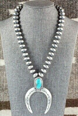 Turquoise & Sterling Silver Squash Blossom Necklace - Jan Mariano