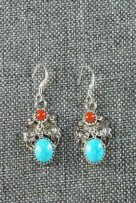 Roberta Begay Navajo Turquoise and Coral Sterling Silver Earrings