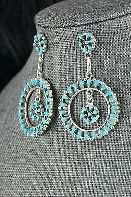Zuni Turquoise & Sterling Silver Earrings - Tricia Leekity - High Lonesome Trading