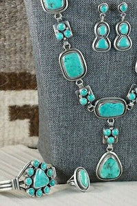 Navajo Turquoise & Sterling Silver Jewelry Set - Raymond Delgarito - High Lonesome Trading