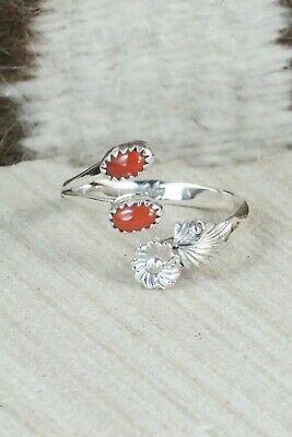 Coral & Sterling Silver Ring - Harris Largo - Size 10