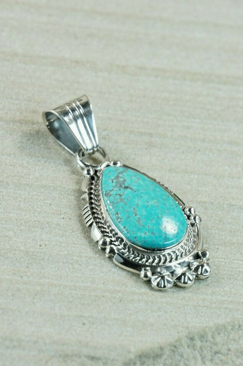 Navajo Turquoise and Sterling Silver Pendant - Bobby Platero