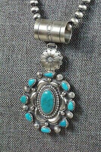 Turquoise Pendant & Sterling Silver Necklace - Tom Lewis