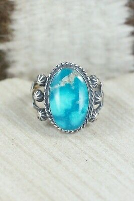 Turquoise & Sterling Silver Ring - Samuel Yellowhair - Size 8