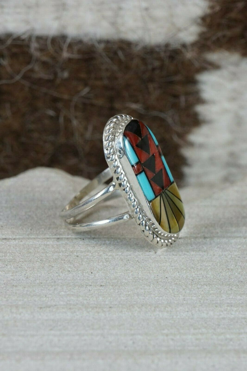 Zuni Inlay Multi- Stone and Sterling Silver Ring - Ola Eriacho - Size 6.25 - High Lonesome Trading