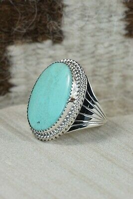 Navajo Turquoise and Sterling Silver Ring - Bobby Platero - 9.25