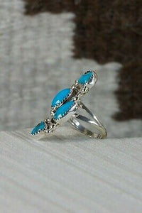 Navajo 4 Stone Turquoise and Sterling Silver Ring - Roberta Begay - 7.75 - High Lonesome Trading