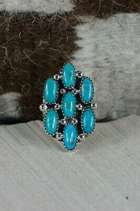 Navajo 7 Stone Turquoise and Sterling Silver Ring - Roberta Begay - 6.5 - High Lonesome Trading