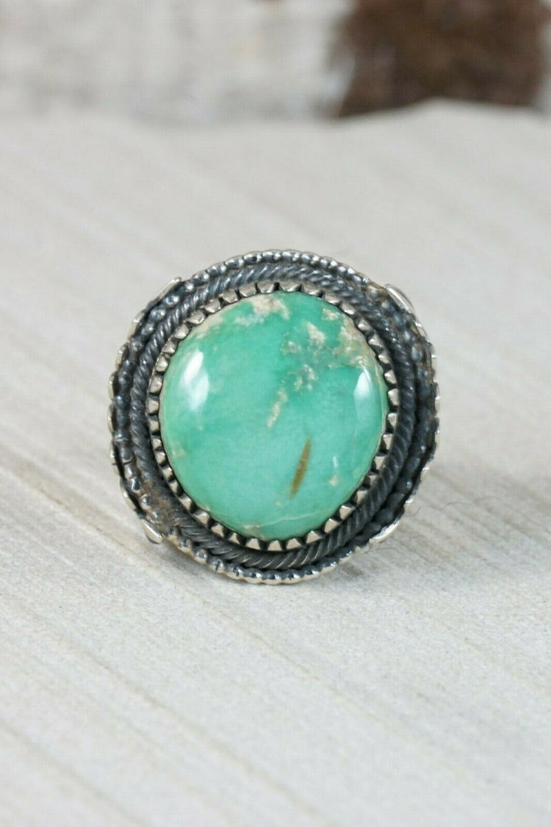 Navajo Turquoise and Sterling Silver Ring - Myron Etsitty - Size 11 - High Lonesome Trading