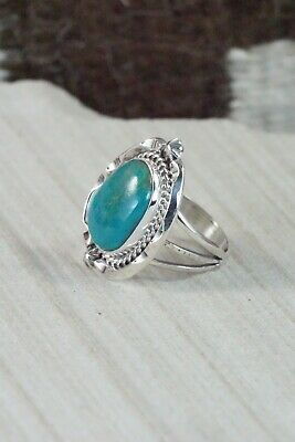 Turquoise & Sterling Silver Ring - Samuel Yellowhair - Size 7.75