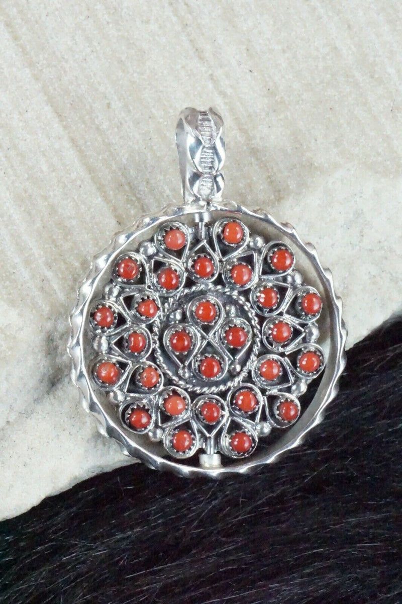 Turquoise, Coral & Sterling Silver Pendant - Wayne Johnson Sr. - High Lonesome Trading