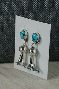 Navajo Turquoise and Sterling Silver Blossom Earrings - Marie Kirlie - High Lonesome Trading