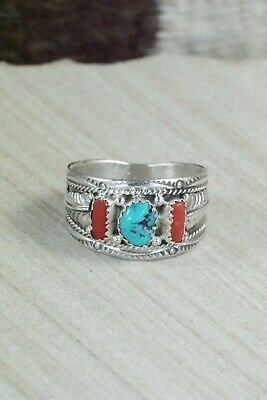 Turquoise, Coral and Sterling Silver Ring - Harrison & Betty Begay - 13