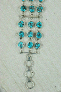 Navajo Turquoise and Sterling Silver Bracelet - Anthony Skeets - High Lonesome Trading