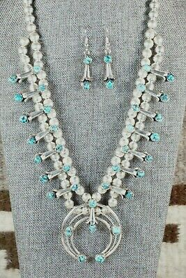 Turquoise & Sterling Silver Squash Blossom & Earrings - Phil Garcia